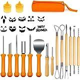 Kit Citrouille Halloween, 14Pcs Kit Sculpture Citrouille avec 2 LED Bougie, Pumpkin Carving Kit Professionnels en Acier Inoxy