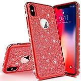 Homikon Silikon Hülle Kompatibel mit iPhone X/XS Überzug TPU Bling Glitzer Strass Diamant Schutzhülle Ultra Dünn Kratzfest Soft Flex Durchsichtig Silikon Handyhülle Tasche Case - Rot