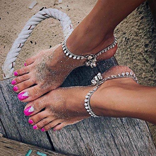 Yesiidor Fußkettchen Damen Fußkette Verstellbares Boho Style Fußketten Sommer Silber Gold