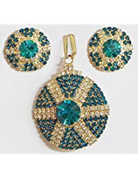 DollsofIndia Cyan And White Stone Studded Round Shaped Pendant And Earrings - Stone And Metal (DR08-mod) - Blue