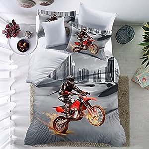 thee 3d motorrad bettw sche set duvet cover bettbezug mit. Black Bedroom Furniture Sets. Home Design Ideas