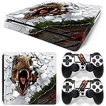 46 North Design Ps4 Slim Playstation 4 Slim Pegatinas De La Consola T-Rex + 2 Pegatinas Del Controlador