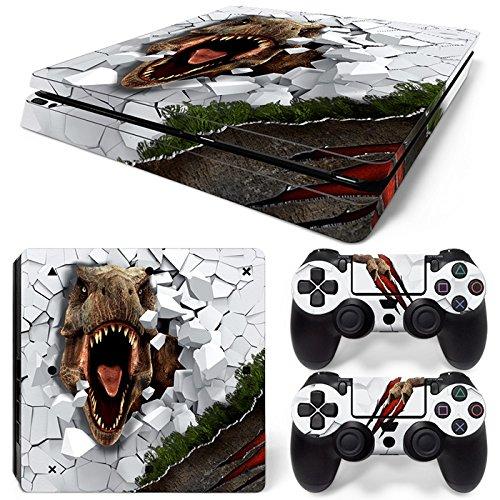 46 North Design Playstation 4 PS4 Slim Folie Skin Sticker Konsole T-Rex aus Vinyl-Folie Aufkleber Und 2 x Controller folie