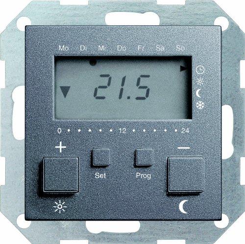 Gira 237028 Raumtemperatur-Regler 230 V mit Uhr System 55, anthrazit -
