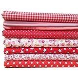 SODIAL 7 pz 50cm * 50cm cotone piccolo stampato floreale tessuto di cotone per stoffa per cucire patchwork quilting handmade diy tessile (rosso)