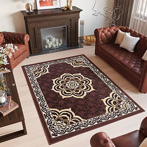 Tapiso bali tappeto orientale classico tradizionale salotto soggiorno crema marrone ornamenti a pelo corto 200 x 300 cm