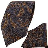 TigerTie Krawatte + Einstecktuch in braun bronze gold blau schwarz Paisley gemustert