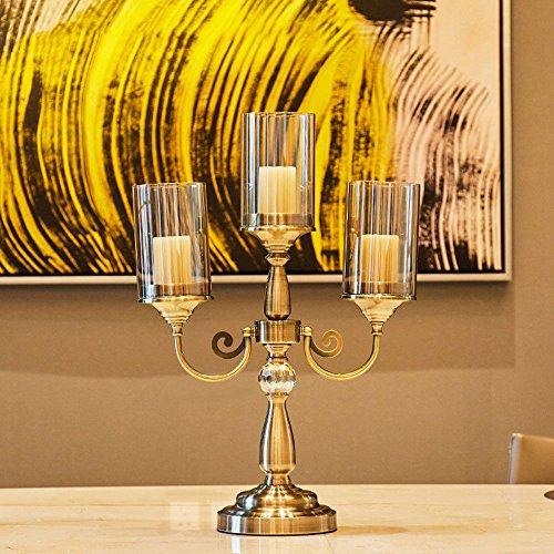 KMYX Europäische Bronze Retro Metall Kerze Display Halter Glas Kerze Laterne Kreative Modell Weiche Zubehör Wohnzimmer Esszimmer Tisch Dekoration Ornamente Kerzenhalter (Glas Gebogenes Laterne)