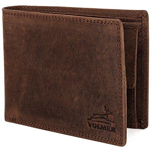 Schlanke Herren Büffelleder-Geldbörse besonders bequem einfach und stabil mit RFID-Schutz Usedlook Vintage Geldbeutel Scheintasche von Fa.Volmer #RFID-Iron