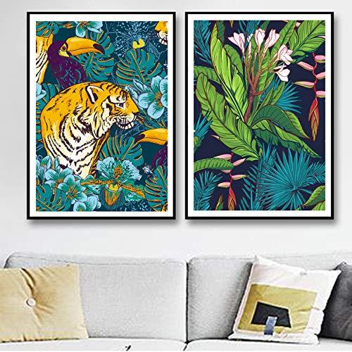 XWArtpic Tiger Flamingo Leopard Zebra Monstera Wandkunst Leinwand Malerei Nordic Poster Und Drucke Wandbilder Für Wohnzimmer Decor E 50 * 70 cm * 2 stücke -