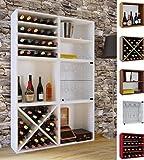 VCM Wein-Regalserie Regal Weinregal Weinschrank Weinflaschen Schrank Holz Würfel Flaschen Aufbewahrung Weino Weino l: Weiß