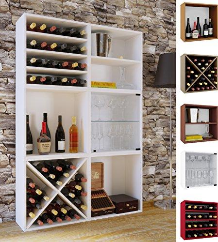 VCM Wein-Regalserie Regal Weinregal Weinschrank Weinflaschen Schrank Holz Würfel Flaschen Aufbewahrung Weino Weino l: Weiß -