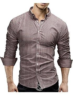 [Sponsorizzato]Merish Camicia Uomo, a scacchi, Slim Fit, Camicia classiche, 4 Colori Taglia S - XXL Modell 48