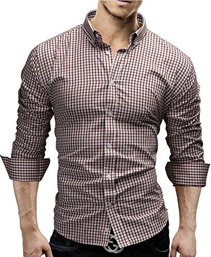 Merish camicia uomo, a scacchi, slim fit, camicia classiche, 4 colori taglia s - xxl modell 48 rosso m