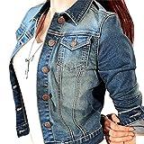 Wvsender Damen Stylische Denim Kleidung Kurzen Jeansjacke Langarm Boleros Jeansstoff Mantel Tops (EU 36(CN:L), Blau)
