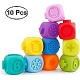 ALLELE 3D Soft Bunte Squeeze Baby Blöcke Badewanne Spielzeug-Bausteine für Kleinkinder - frühes pädagogisches Baby Badespielzeug ab 6 Monaten mit Zahlen, Formen, Tieren und Texturen - BPA-freiEINWEG