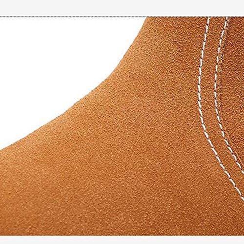 FUFU Stivali da donna Stivaletti di neve Scarpe da passeggio invernale Tacco piatto esterno Nero / Marrone / Grigio / Rosso / Giallo Piatto ( Colore : Rosso , dimensioni : EU39/UK6/CN39 ) Giallo