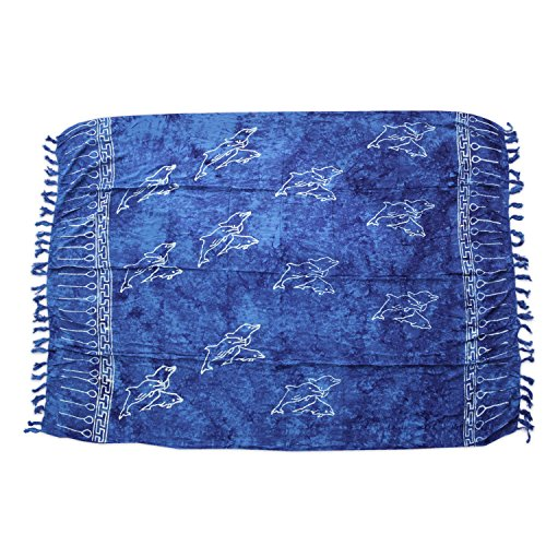 ManuMar Damen Sarong Blickdicht   Pareo Strandtuch   Leichtes Wickeltuch in Blau mit Delfin-Motiv mit Fransen/Quasten   XXL Übergröße 225x115 cm   Sauna-Handtuch   Haman-Tuch   Bikini   Bali