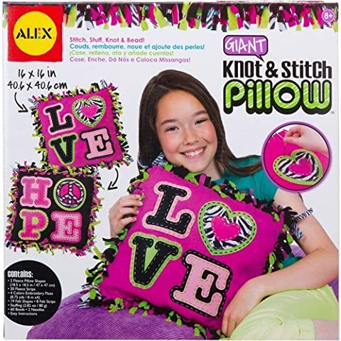 Giant Knot and Stitch Pillow Kit w/ zebra fringe & metallic beads Toys Craft by MegaDeal
