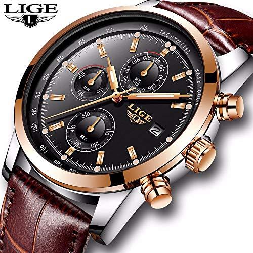 Lige Relojes para Hombre Top Brand Luxury Leather Casual Reloj De Cuarzo Hombres Deporte Militar Reloj...