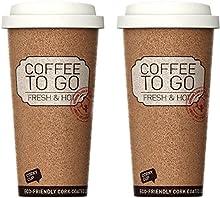 Juego de Dos Tazas Aislante Reutilizable para café o Té de 16 onzas, Anti-bacteriano y Anti derrames