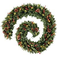 WeRChristmas Extra Thick Pre-Lit Mixed Pine Garland with Cones and Berries with 80-LED, Green, 9 feet