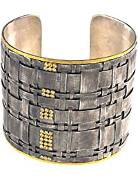 Ster. Silver/24ct Gold Straw Cuff 54mm 2-tone Solid Bangle Bracelet Textured Finish .19 Dwt Diamond