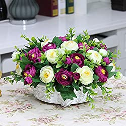 WANG-shunlida Gefälschte Blumen Tabelle Rosen, Wohnzimmer Simulation Plastik Tee Tabelle, Fake Blumen Topfpflanzen Verzierungen, Ornamente, Seide Blumen Und Blumen, S