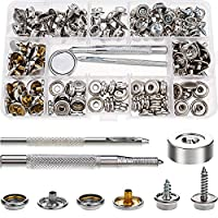 SATINIOR 153 Pieces Snaps Fastener Screw Snaps Canvas Snap Kit Tool, Metal Snaps Button for Boat Cover Furniture (Marine Grade, 3/8 Inch Socket, 5/8 Inch Screw)