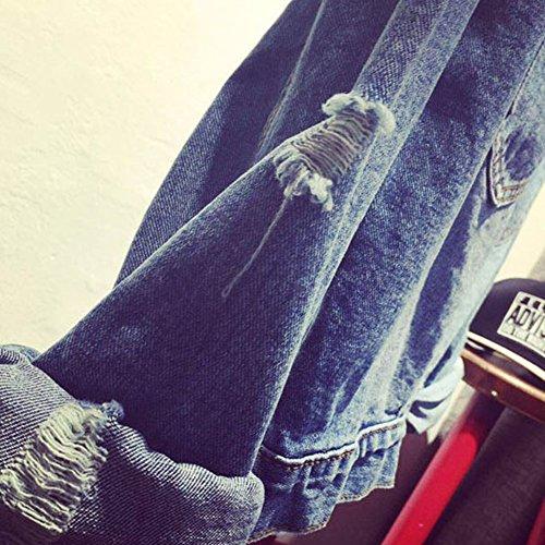 Donna Manica Lunga Casual Giacca Di Jeans Strappato Outerwear Cappotti Bleu clair