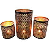 Mehrunnisa Set Of 3 Tea Light / Candle Holders With Free LED Candles (MEH1615)