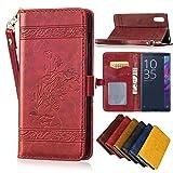 Sony Xperia XZ Leder Hülle,Handy Hülle Tasche Sony Xperia XZ,Ledertasche für Sony Xperia XZ,Leweiany Handytasche Sony Xperia XZ Schutzhülle aus Echt-Leder Retro Blumen Prägung Hülle im Ständer Bookstyle Wallet Tasche Flip Brieftasche Etui Schale mit Kartenfach, Magnet und Praktischer Standfunktion Luxus Tasche für Sony Xperia XZ/XZs - Premium Hülle in Rot