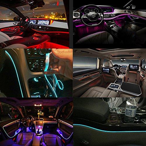 Taben Auto Dekoration Atmosphäre Licht LED Auto KFZ Innenbeleuchtung-Kit mit 8color, wasserdicht, innen Atmosphäre Neon Lights Streifen für KFZ 1W DC12V (1Set) (005-lampe-kits)