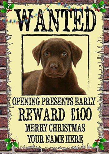 Schokolade Labrador Weihnachts Wanted Karten-chw6A5personalisierbar Karten geschrieben von uns Geschenke für alle 2016von Derbyshire UK