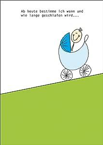 Lustige Gratulationskarte mit Kinderwagen und Spruch zur ...