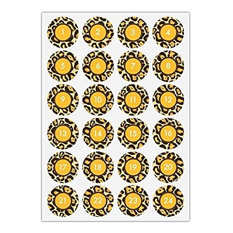 5 x 24 élégants autocollants du calendrier de l'Avent avec les nombres 1 - 24 avec cadre en optique de la peau de tigre, jaune, MAT étiquette adhésive en papier, labels, vignettes, stickers pour faire des calendriers de l'Avent, décorer des cadeaux de Noel, décoration du table, des paquets, lettres etc. (ø 45mm; 5 x 24 nombres)