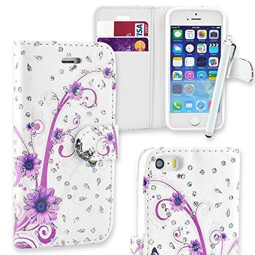 Connect Zone iPhone 5/5G/5S/SE haute qualité PU étui rabat portefeuille cuir Pochette + Protège Écran + Chiffon De Polissage Et Stylet - Violet/Diamant Noir Brillant, iPhone 5/5G/5S/SE