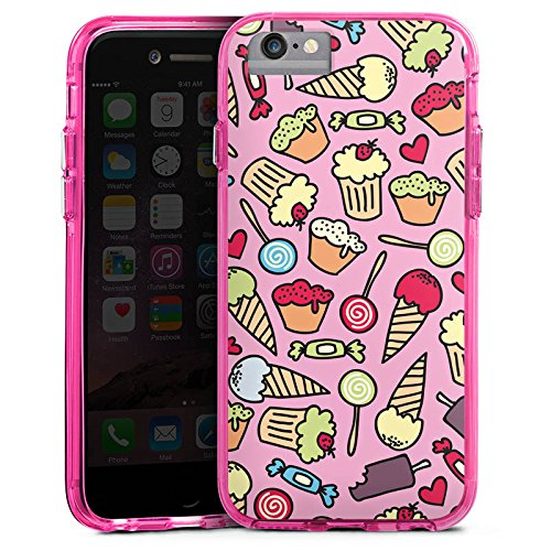 Apple iPhone 6s Plus Bumper Hülle Bumper Case Glitzer Hülle Sweet Candy All Over Sweet Sweets Bumper Case transparent pink