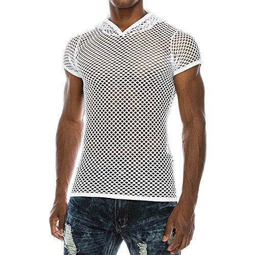 Morran Herren Sommer T-Shirt Männer Netz Hemd Shirt Casual Muscle Pullover mit kurzen Ärmeln Mesh Shirt Top Bluse -