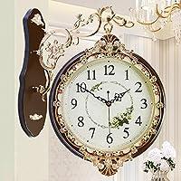 KHSKX Orologi da parete europea-doppio soggiorno grande moda e creativo pastorale muto antico orologio tavolo Orologio minimalista moderno color 20 inches