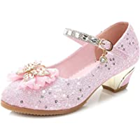 Sunny-U Mary Jane Cute Pink Glitter Sequin Party Wedding Low Heel Princess Shoes