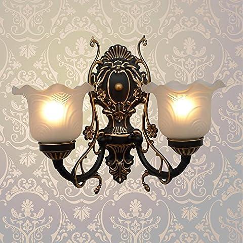 Doppel Kopf Wandleuchte, antiken Wohnzimmer, Treppe, Flur, Balkon Lampe Flurlampe, Retro TV-Wand Lampe am Bett, B2-08, schwarzen Hintergrund, Gold