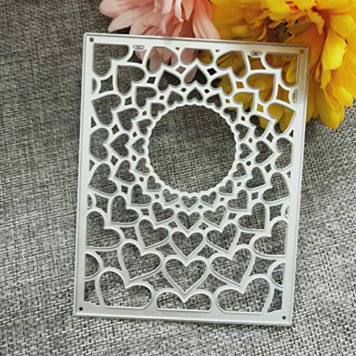 KimcHisxXv Stanzformen, Love Heart Frame Metall Stanzformen DIY Scrapbooking Pr?gen Papier Karten Schablone - Silber