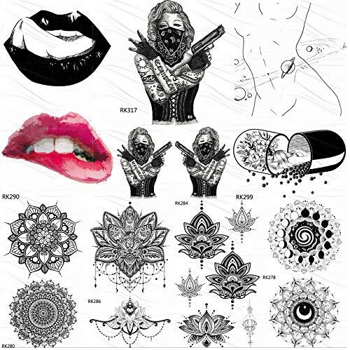 Tattoo Aufkleber Haut Tattoos Temporäre Aufkleber Pille Gefälschte Tattoolips Benutzerdefinierte Tatoos Für Frauen Männer Body Art Schwarz Wasserdicht 10 * 6 Cm 7 - Pille Brust Kostüm