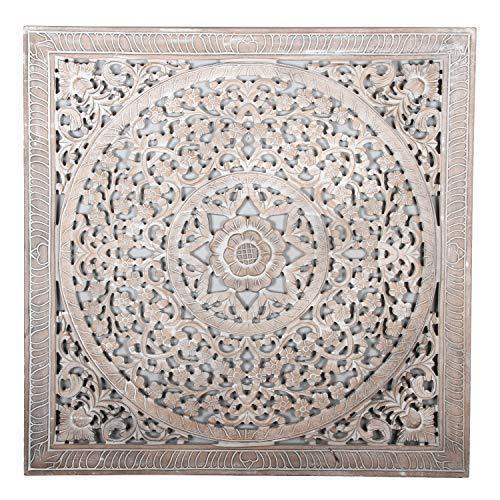 Orientalisches Wandbild Mandala Hira 90 x 90 cm weiß braun handgeschnitzte Wand-Dekoration aus MDF zum Hängen & Stellen im Shabby Chic Stil | Kunsthandwerk | Fensterdeko & Weihnachtsdeko | MD2120