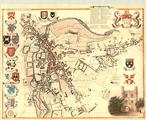 Cambridge Innenstadt-Antike Weltkarte-- Karte, 50.80 x 40.64 cm - County England-antik-karte