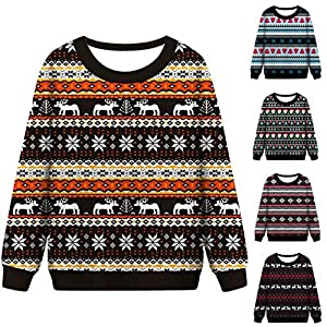 Toasye Damen-Weihnachtslustiges Druck-Spitzen-Sweatshirt Weihnachten Frauen Lustige Print Sweatshirt Crewneck Verschiedene Design Tops