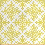 ABAKUHAUS Gelb und Weiß Stoff als Meterware,