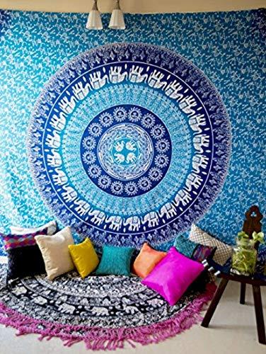Folkulture - Colcha, para colgar en la pared, diseño de mandala con elefantes, diseño hippie y bohemio, para dormitorio, decoración del hogar, tamaño Queen, color azul