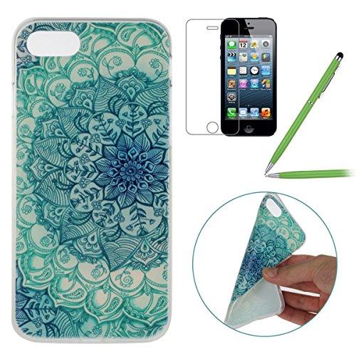 iPhone 7 Hülle,iPhone 7 Silikon Case,iPhone 7 Cover - Felfy Ultradünne Weicher Gel Flexible Soft TPU Silikon Transparent Hülle Schutzhülle Hülle Color Muster Farbmalerei Beschützer Hülle Handy Durchsi Jade-Blumen
